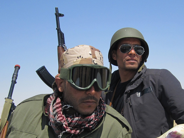 Libyan rebels in 2011. Civil war in Libya could affect Algeria's ability to supply the EU with gas.