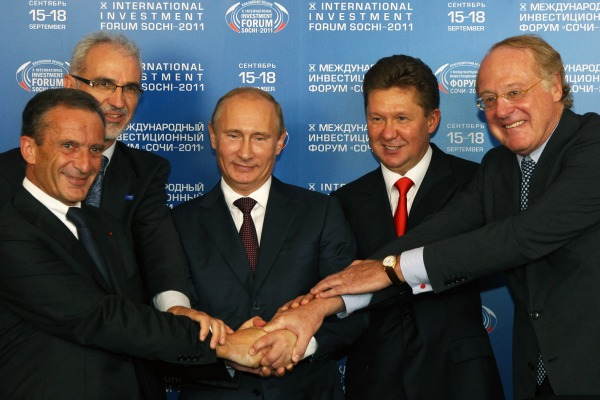 Putin and friends. Sochi, 2011. [Gazprom]