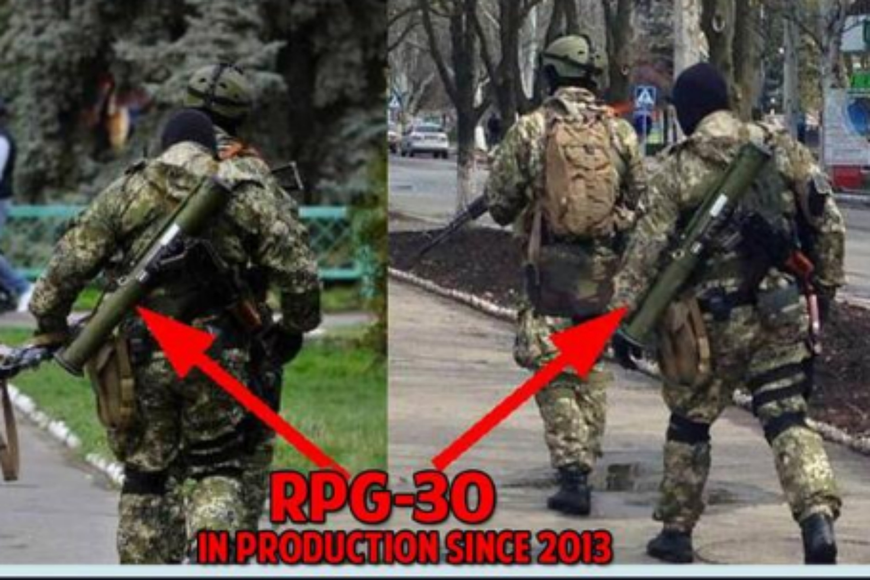 Paramiltary in Eastern Ukraine with RPG-30, in use only in Russia