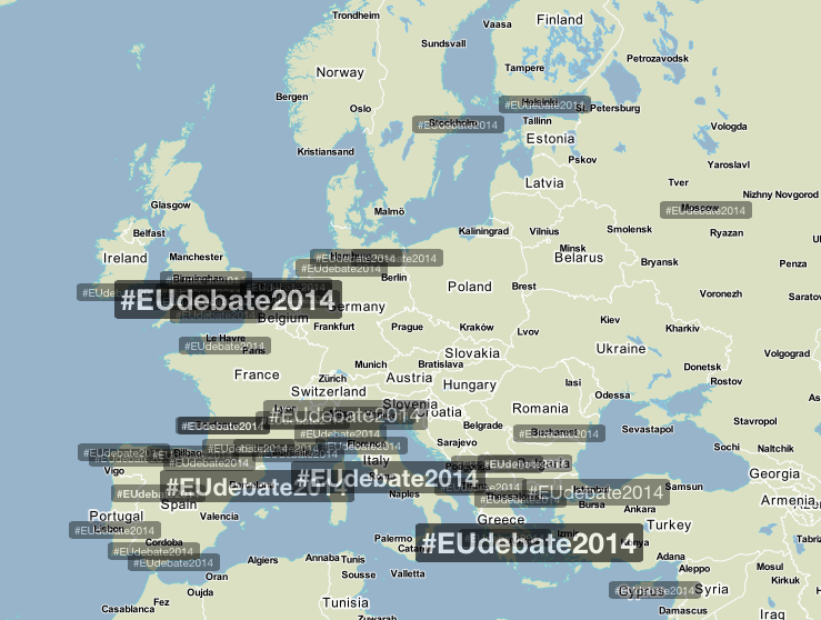 Use of Twitter hashtag #EUdebate2014 during Maastricht debate [EURACTIV]