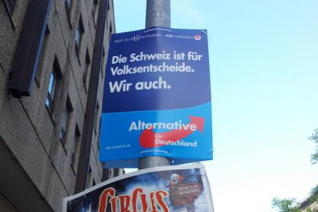 """Switzerland is for referenda. So are we."" The Eurosceptic Alternative for Germany (AfD) could win up to 7% in the European elections on 25 May. [Patrick Timmann]"