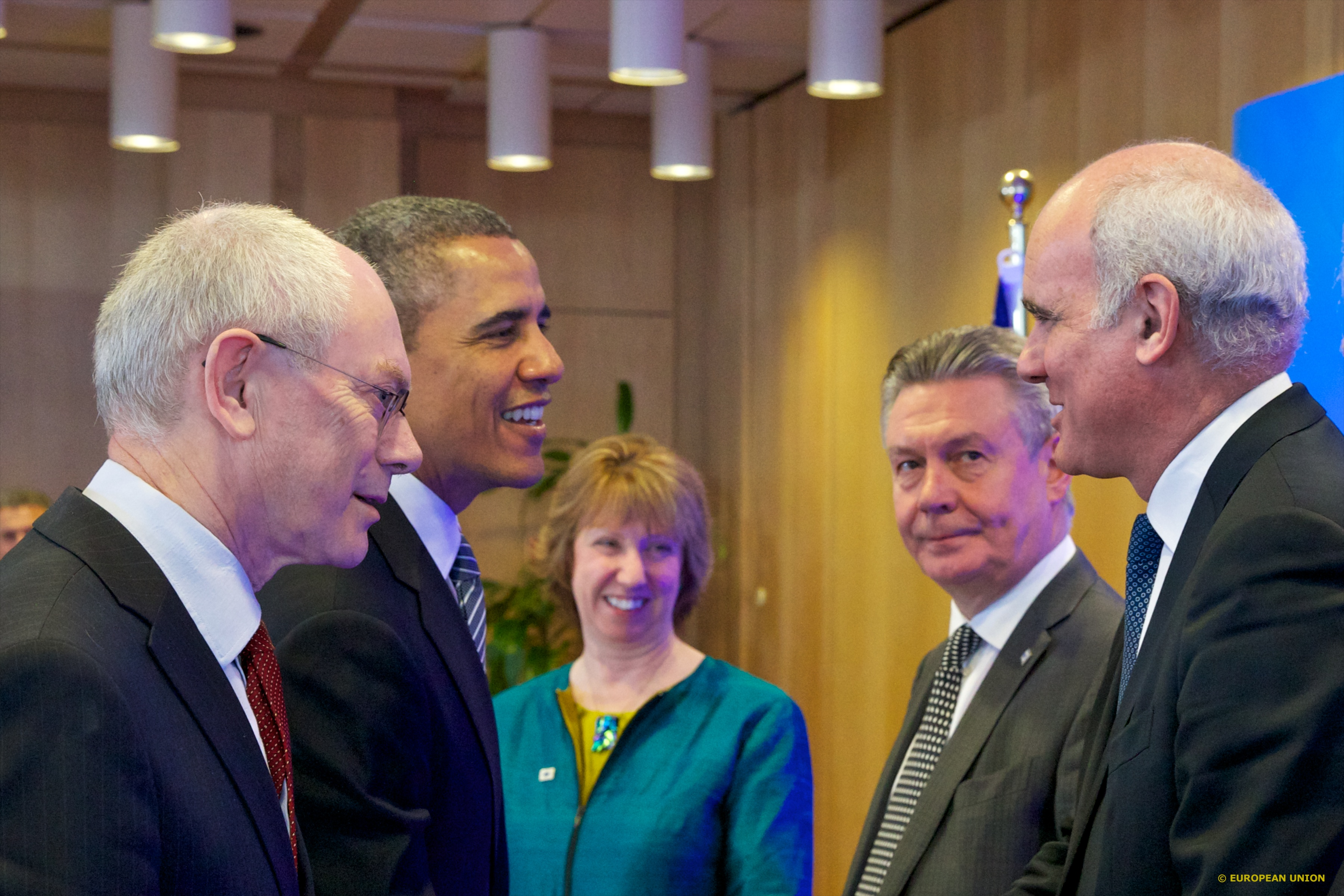 Left to right: President of the European Council Herman van Rompuy, President of the United States of American Barack Obama, EU High Representative Catherine Ashton, EU Trade Commissioner Karel de Gucht. Brussels 2014 [The Council of the European Union]