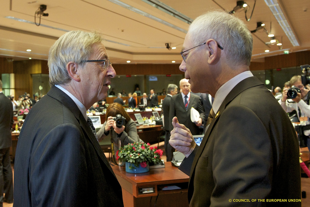 Jean-Claude Juncker (left) and Herman Van Rompuy ahead of a EU Summit [President of the European Council/Flickr]