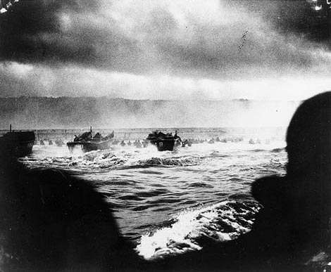 A convoy of landing craft nears the beach at Normandy, D-Day, June 6, 1944 [Photo: US Army Flickr stream]]