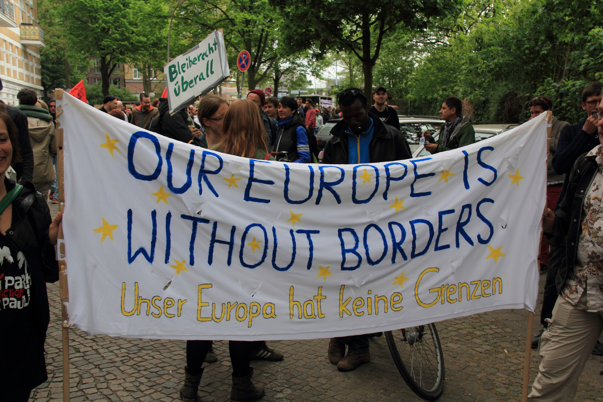 Refugee welcome centre in Hamburg, Germany. May 2014 [Rasande Tyskar/Flickr]