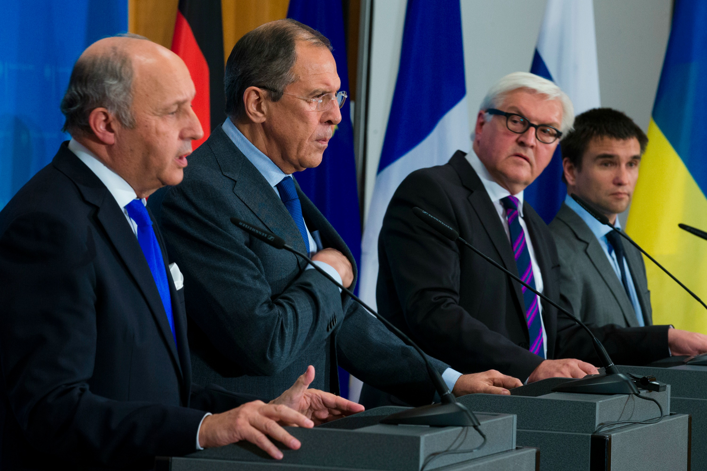 From left to right: Laurent Fabius, Sergei Lavrov, Frank-Walter Steinmeier, Pavlo Klimkin at news conference after Ukraine talks in Berlin [Photo Reuters]