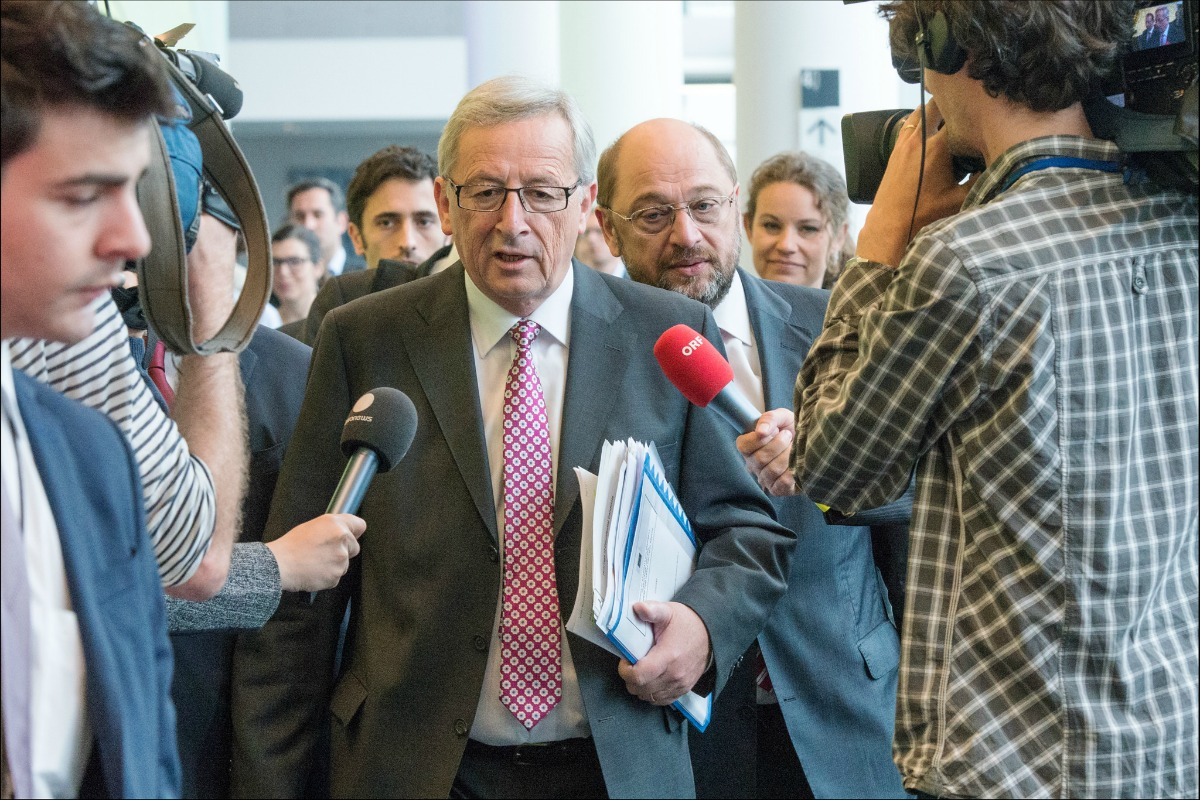 "Jean-Claude Juncker arrives in the European Parliament for political group hearings, Brussels, 8 July 2014 [""© European Union 2014 - European Parliament]"