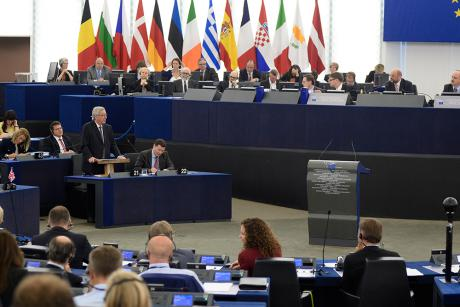 Jean-Claude Juncker speaks before the European Parliament before his election to Commission President on Tuesday (15 July). Strasbourg 2014 [EP]