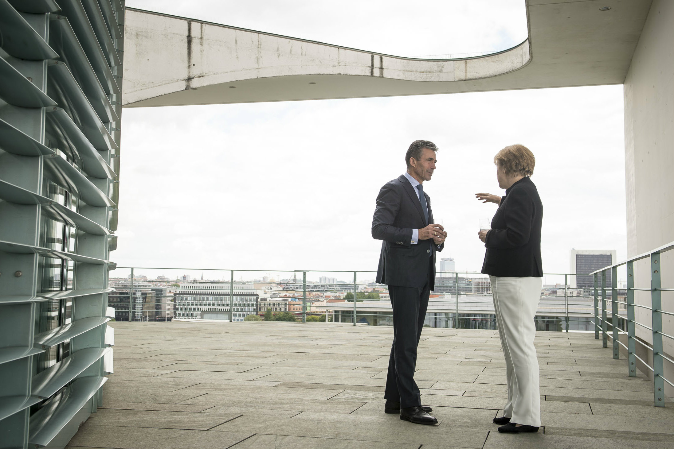 NATO Secretary General Anders Fogh Rasmussen meets with German Chancellor Angela Merkel at her residence in Berlin. [NATO]