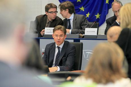 Ex-Finnish Prime Minister Jyrki Katainen, in the European Parliament. [EP]