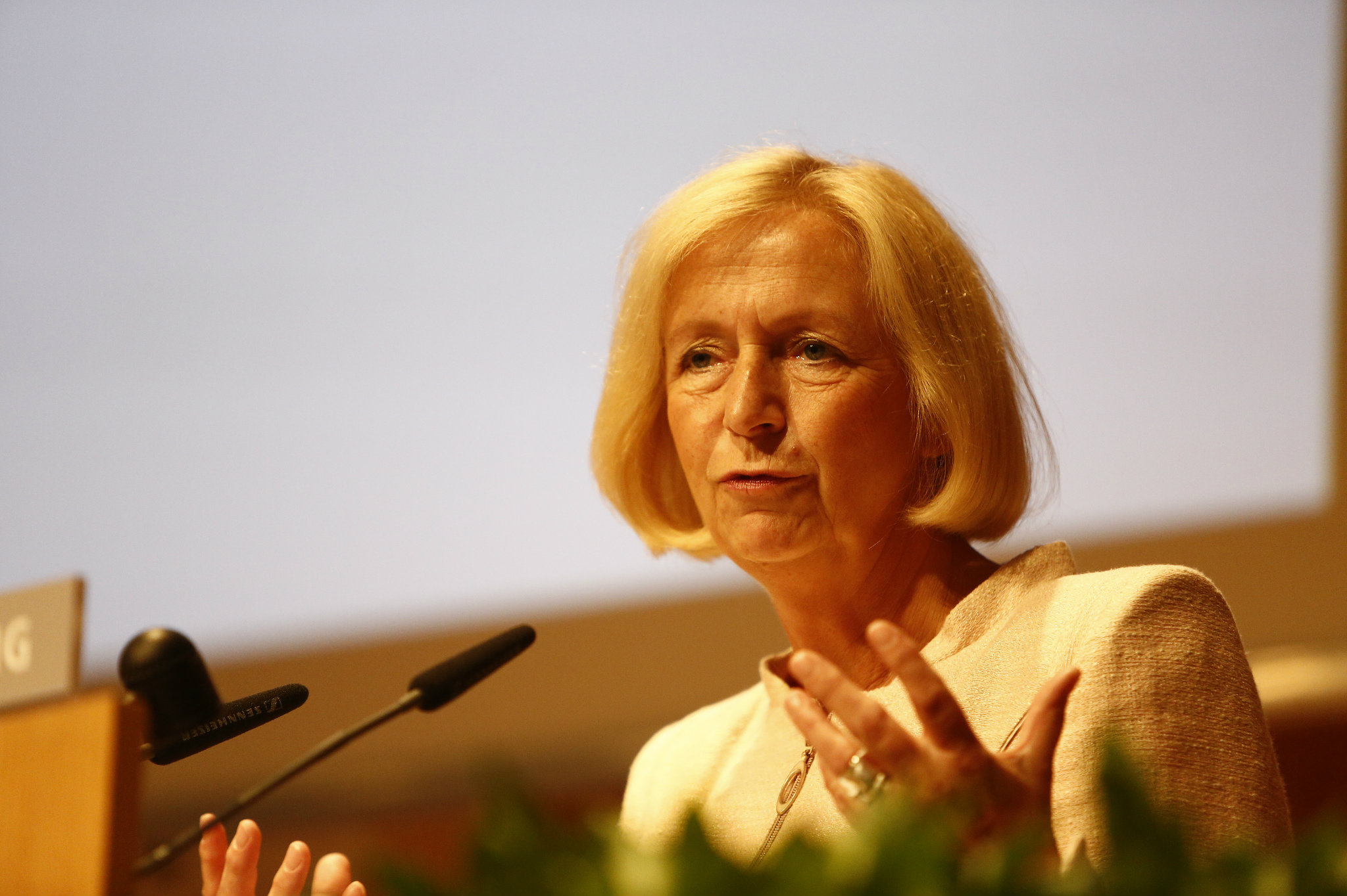 German Minister of Research and Education Johanna Wanka hopes that more integration between the research and economic sectors will boost growth and create added benefit in the workplace. Leipzig, 2013 [WorldSkills/Flickr]