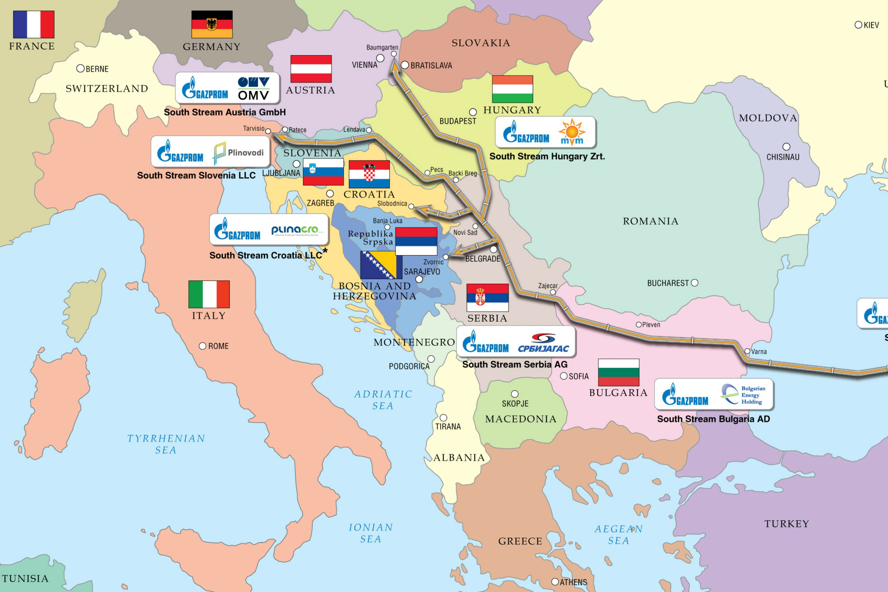 South Stream map [Gazprom]