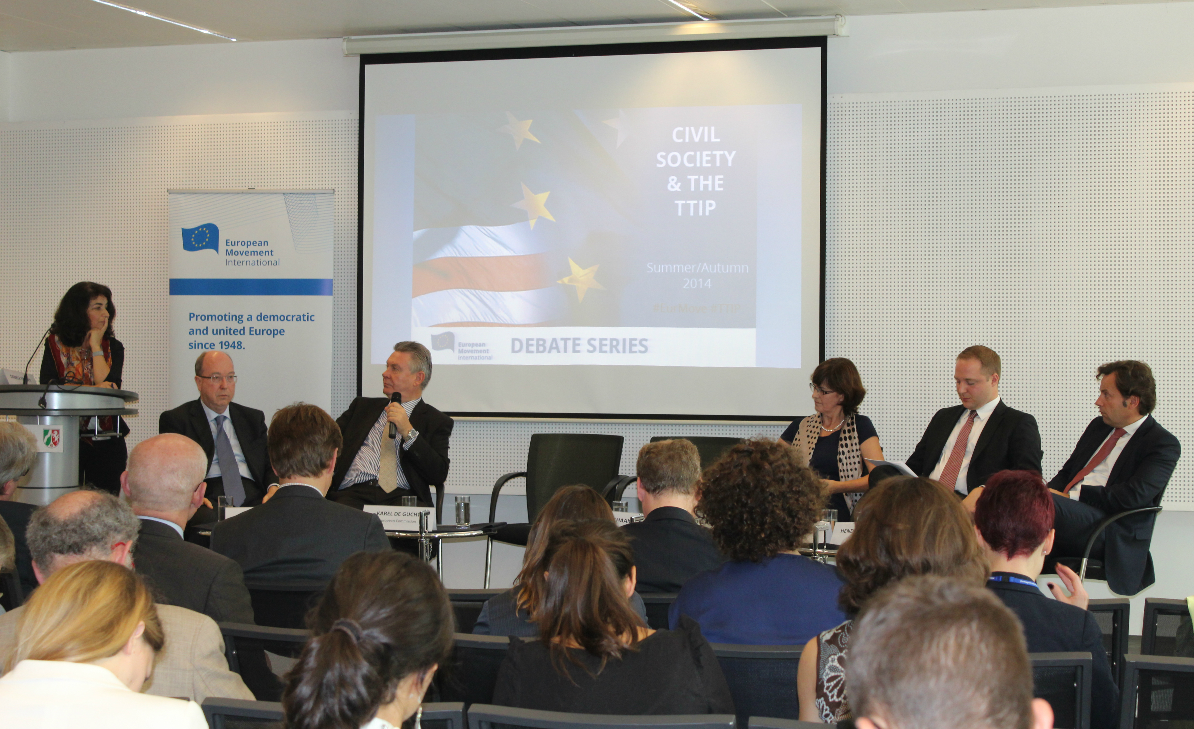 Karel De Gucht at the EMI TTIP Summit .Brussels, October 2014.