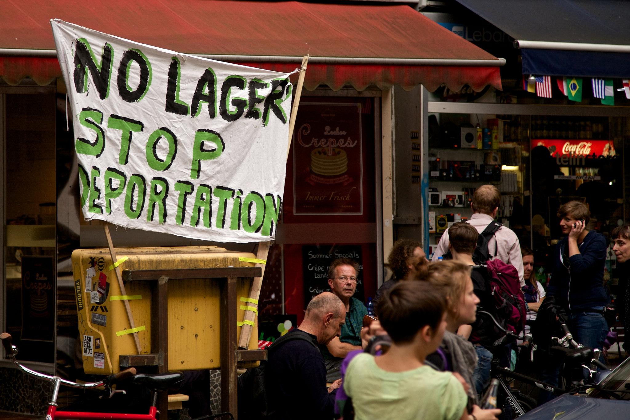 "Protestors attack deportation of ""illegal"" immigrants in Berlin, Germany. June 2014 [Markus Winkler/Flickr]"