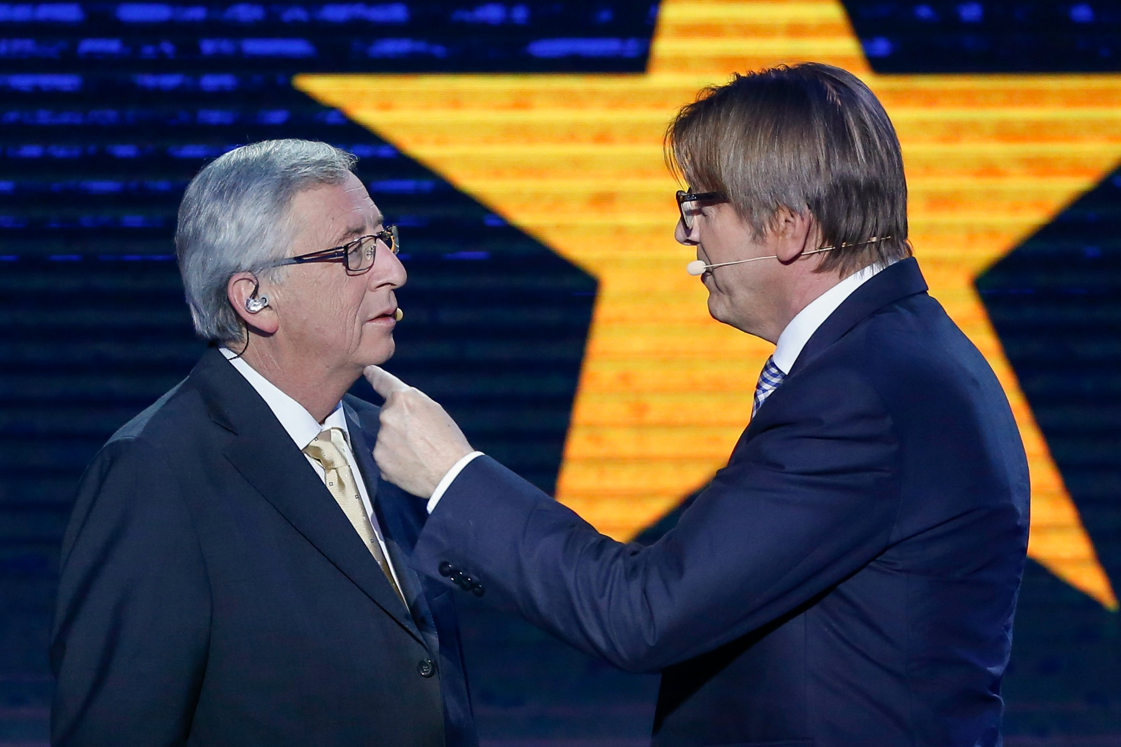 Liberal leader Guy Verhofstadt [R] is not an active MEP [European Parliament]