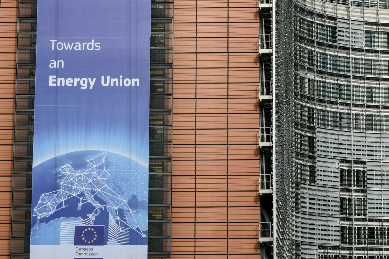 European Commission building's banner on Energy Union