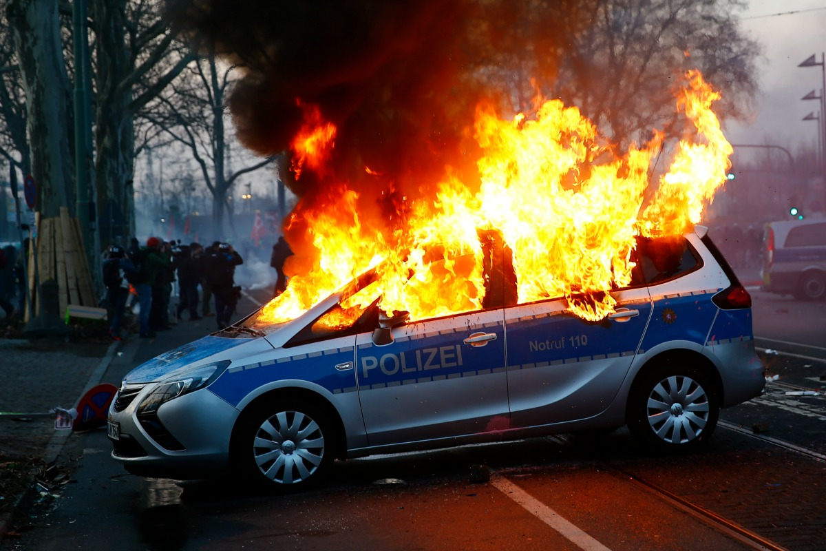 Burning police car