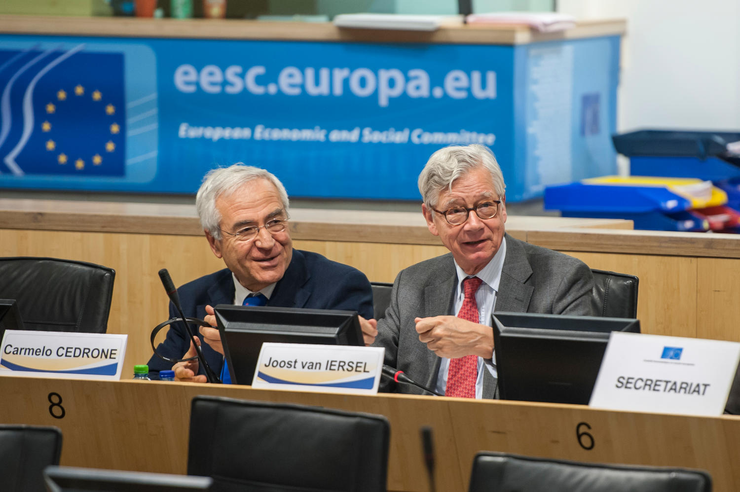 "Carmelo Cedrone and Joost Van Iersel, Rapporteurs on the recent EESC Own-initiative Opinion ""Completing EMU: The political pillar"""