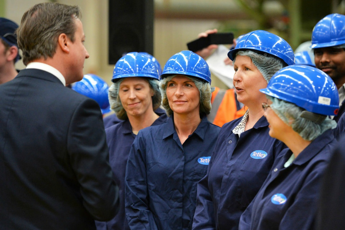 David Cameron at Tetley factory