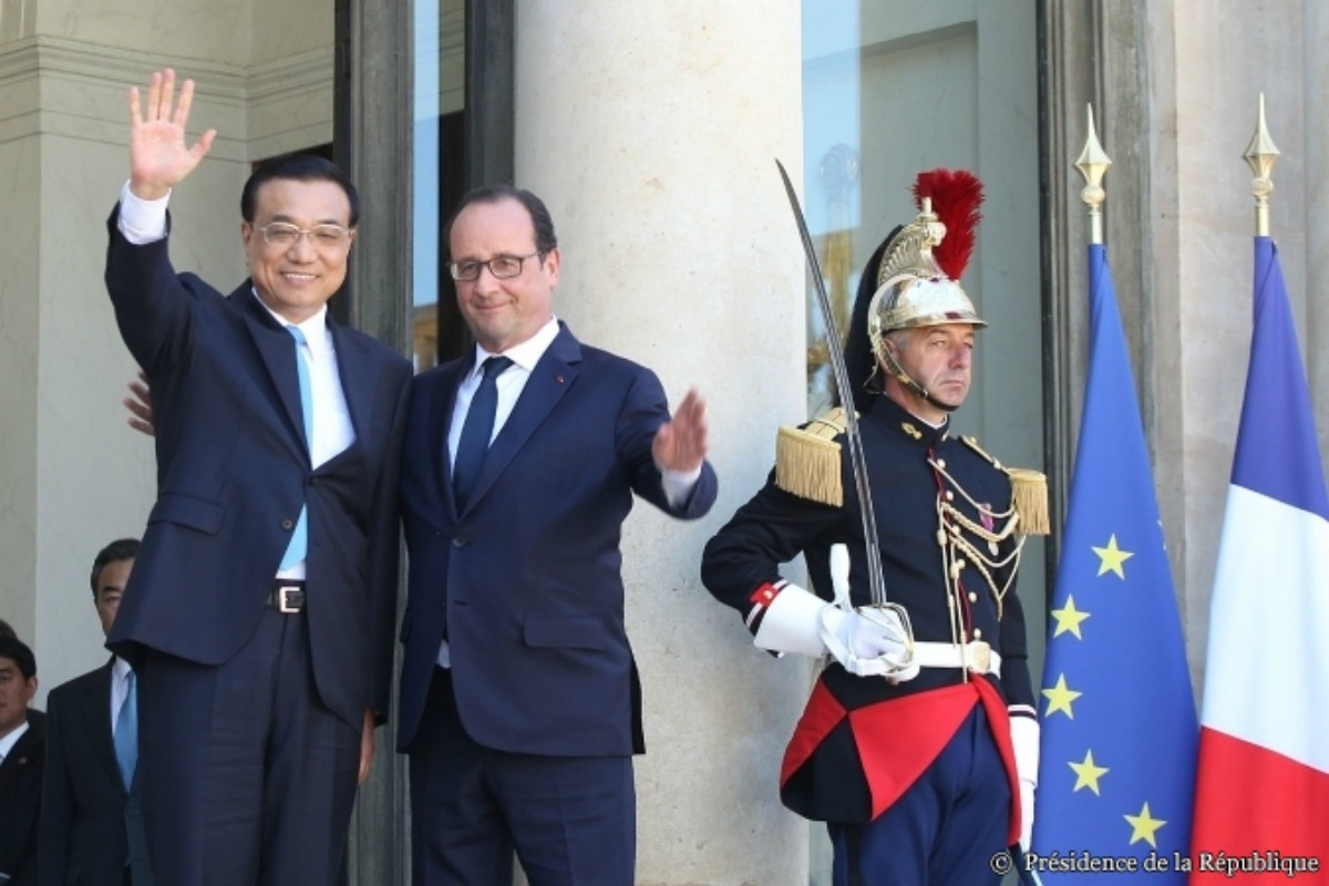 François Hollande and Li Keqiang, 30 June 2015