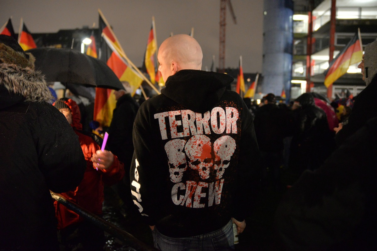 A Pegida demonstrator, 8 December 2014