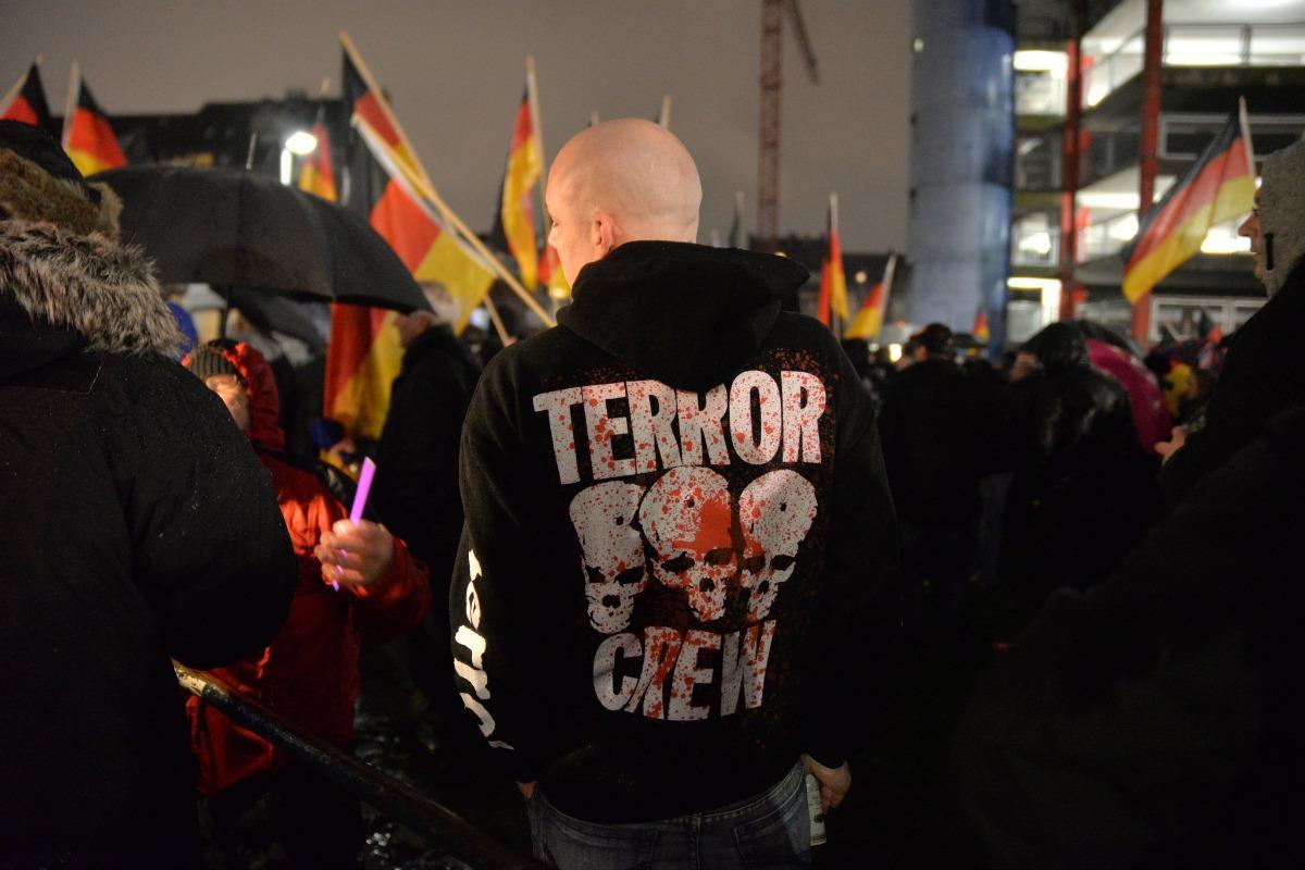 A Pegida demonstrator, 8 December 2014