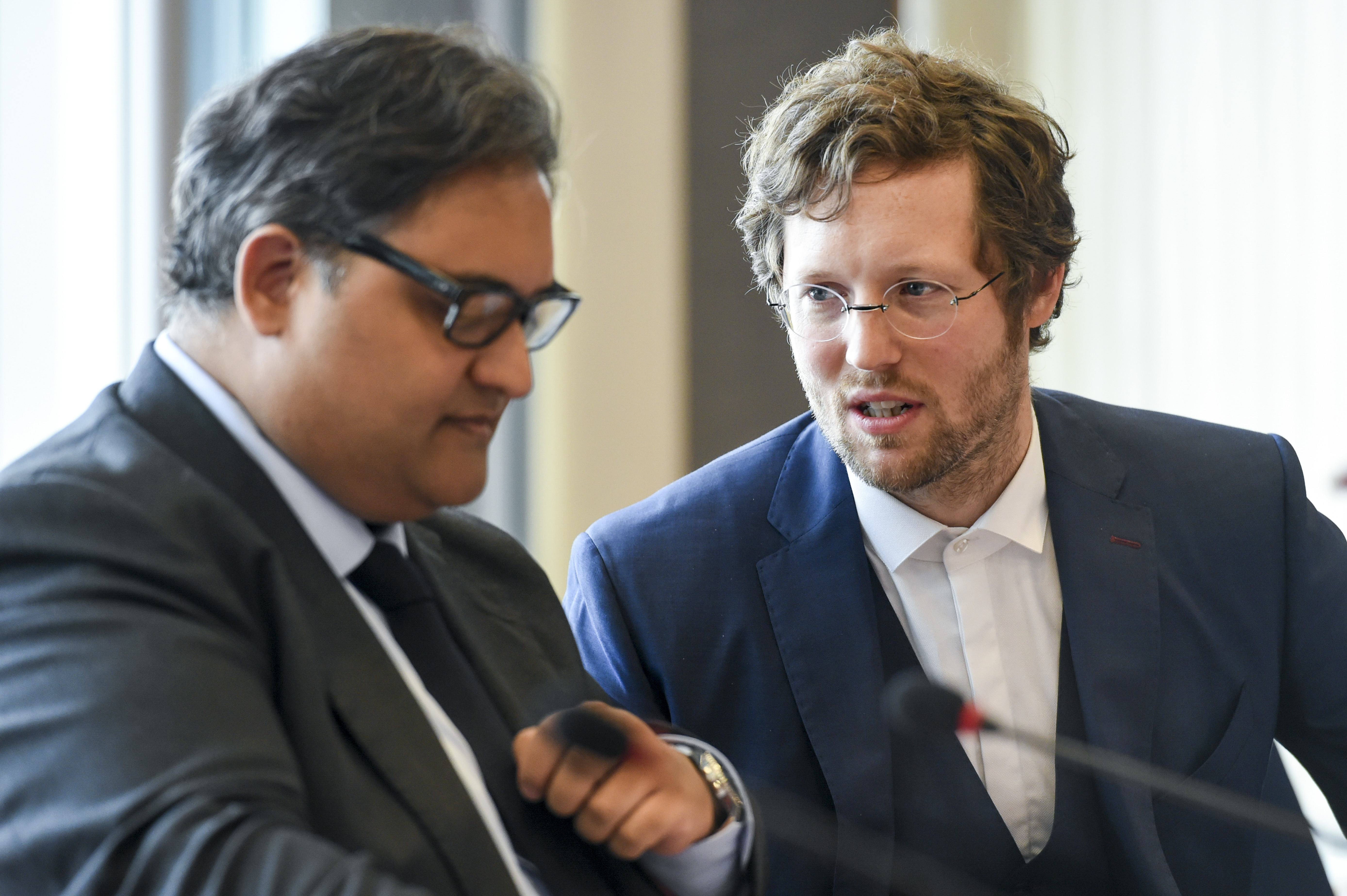 LIBE chair Claude Moraes (S&D) and German MEP Jan Philipp Abrecht (Green), rapporteur on the data protection regulation