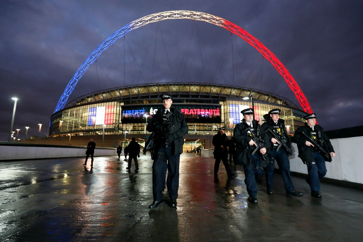 Armed police outside Wembley stadium