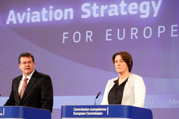 European Commission Vice President Maros Sefcovic and Transport Commissioner Violeta Bulc