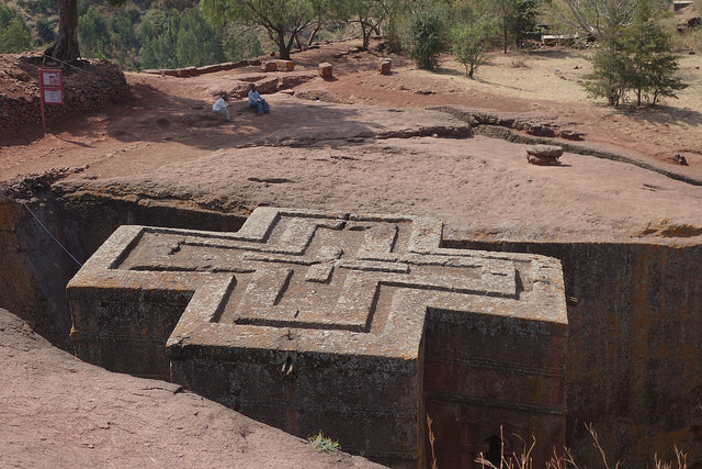 The roof of one of the 12th century rock-hewn Orthodox Christian churches in Lalibela.