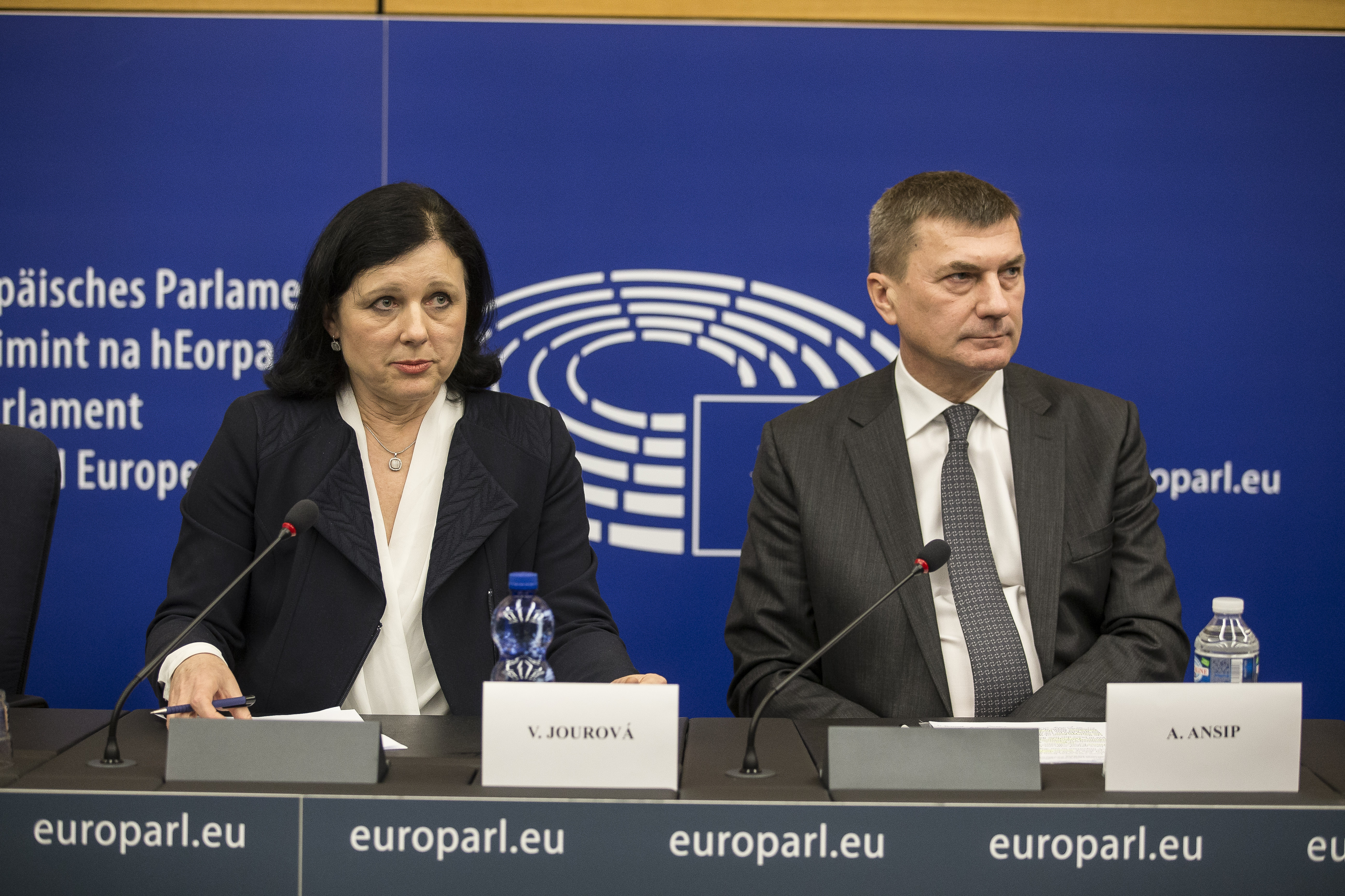 EU Justice Commissioner Vera Jourova and Vice President Andrus Ansip