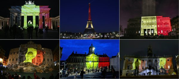 Buildings and monuments across Europe are illuminated with Belgium flag colors