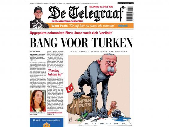 De Telegaaf cartoon of Erdogan as an ape