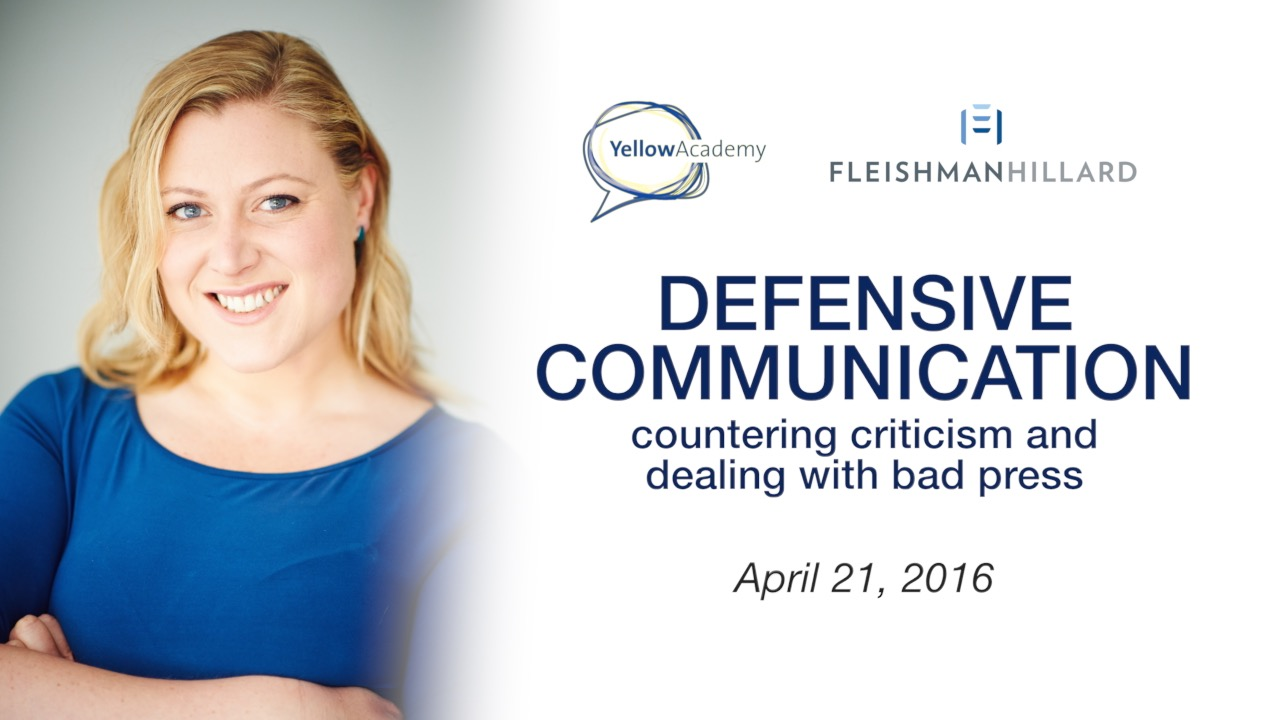 Defensive communication: countering criticism and dealing with bad press