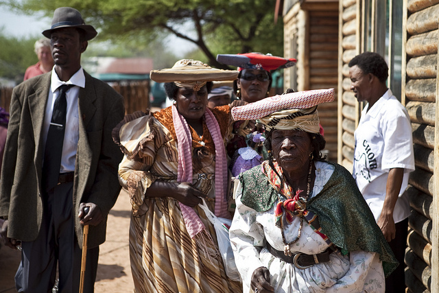 Descendants of the Herero people in traditional colonial-era dress.