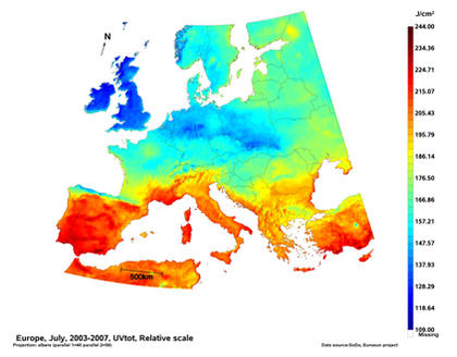 Map of the averaged daily UV irradiation (in J/cm2) in Europe for the month of July averaged over the period 2003-2007.