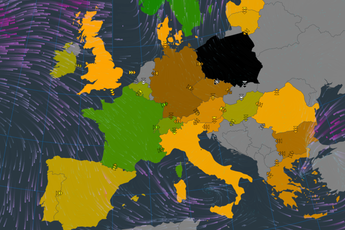 Visualisation of wind potential today (10 January).