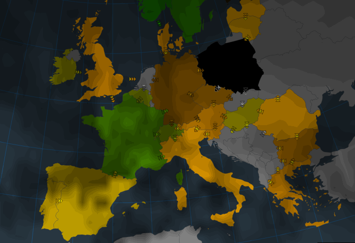 Visualisation of solar potential today (10 January).