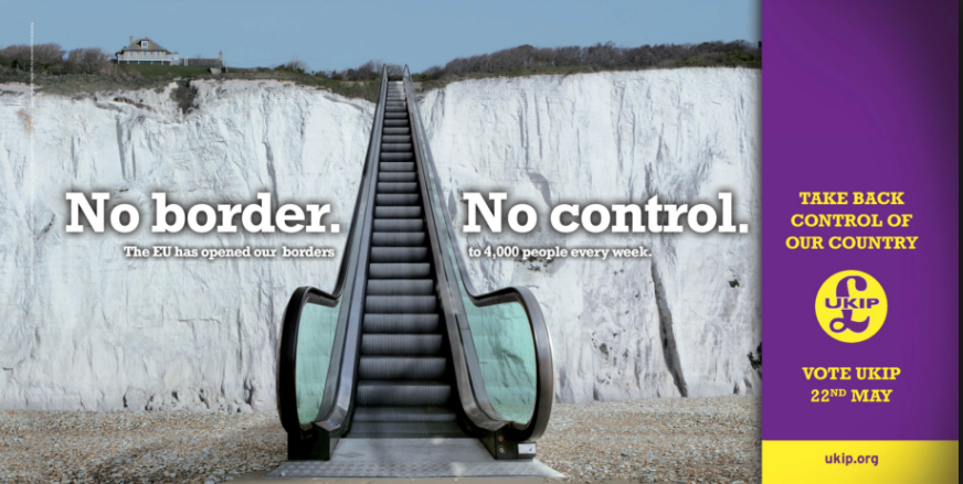 A UKIP campaign poster, depicting the White Cliffs of Dover as an escalator for immigrants.
