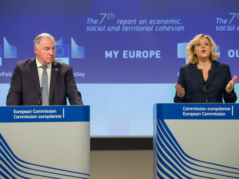 European Commissioner in Charge of Regional Policy, Corina Cretu (R) and President of the PES Group in the Committee of the Regions, Belgian Karl-Heinz Lambertz (L) give a press conference to present the 7th report on economic, social and territorial cohesion in the EU at the EU commission, in Brussels, Belgium, 09 October 2017.