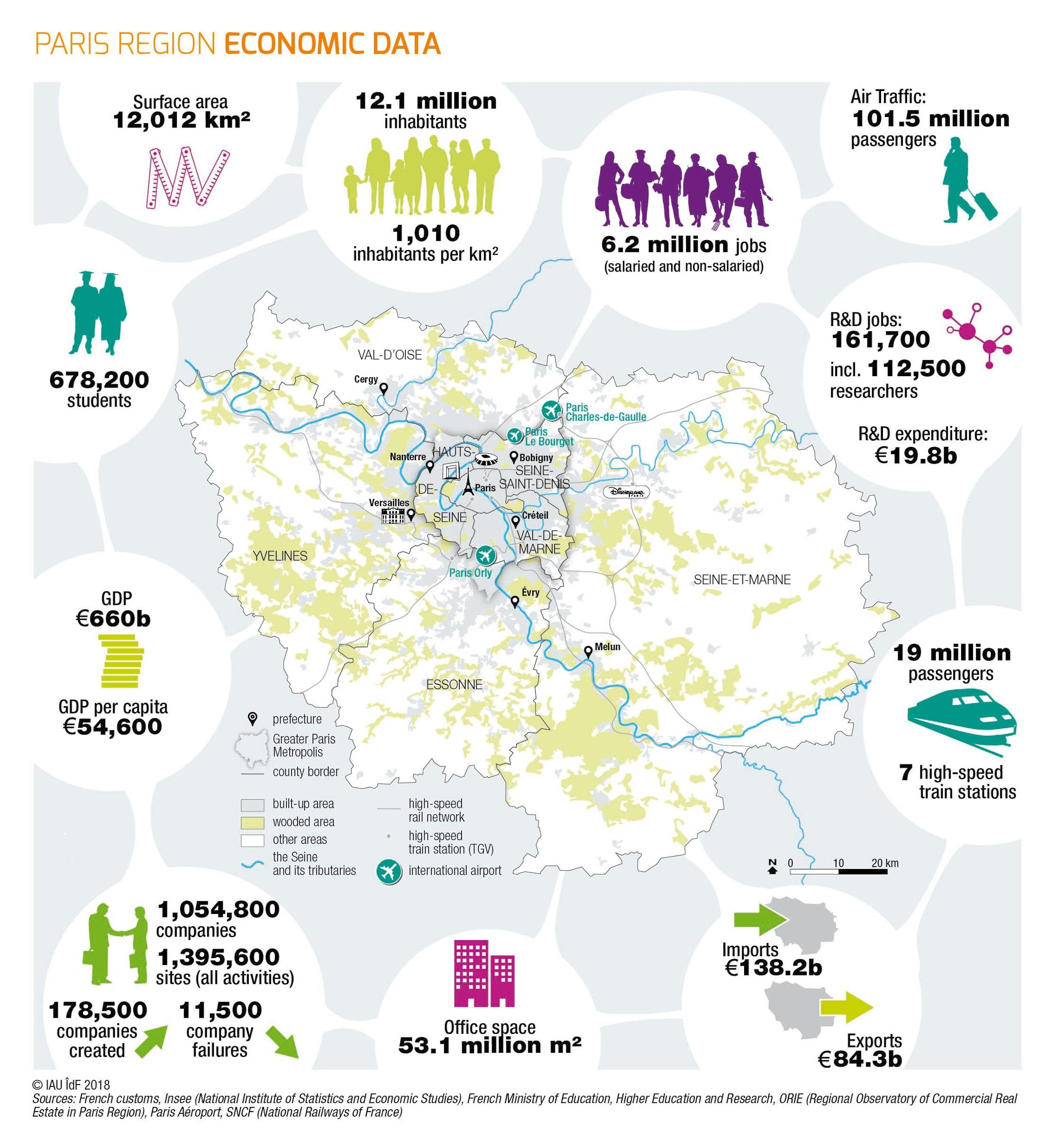 Map Of France With Key.Paris Region Key Figures 2018 Euractiv Com