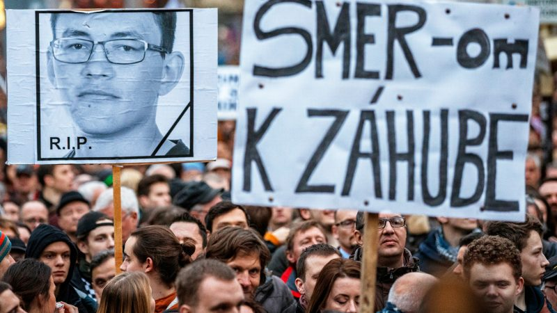 Thousands of people take part in a protest rally  For decent Slovakia  on  the first anniversary of the murder of Slovak journalist Jan Kuciak in  Bratislava e54f8ab069c
