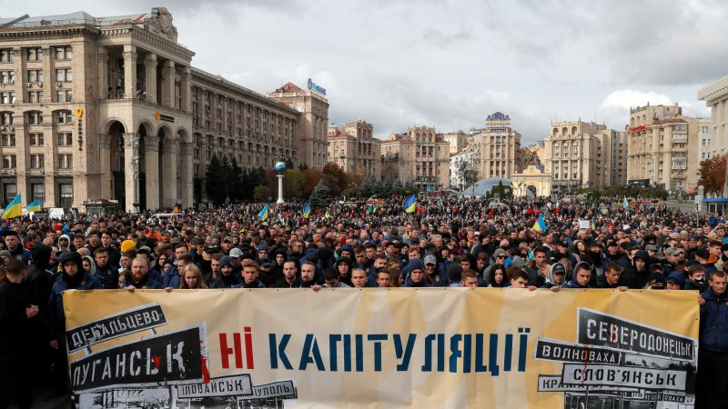 Thousands rally in Kyiv to protest the 'Steinmeier formula' for eastern Ukraine