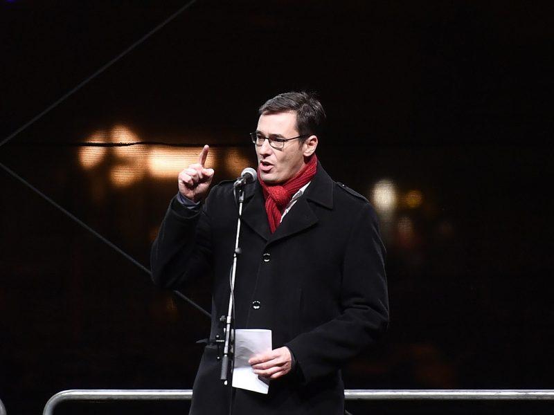 Mayor of Budapest Gergely Karacsony addresses demonstrators