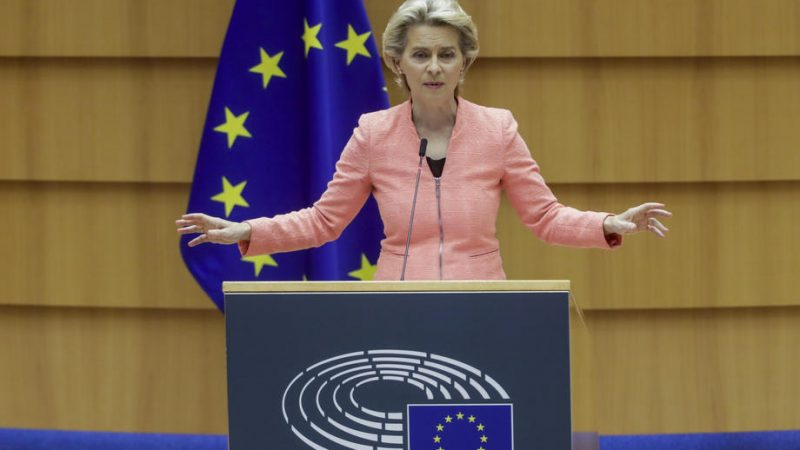European Commission President Ursula Von Der Leyen delivers her first state of the union speech at a plenary session of European Parliament in Brussels, Belgium, 16 September 2020.