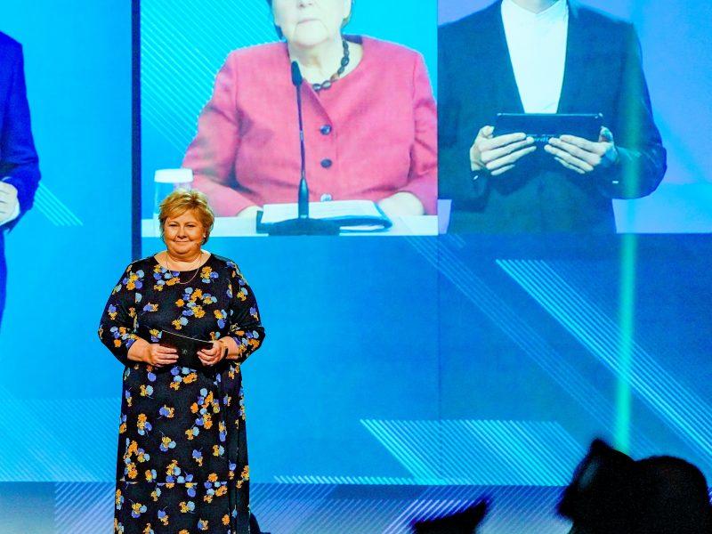 Norwegian PM Erna Solberg and German Chancellor Angela Merkel at the NordLink inaugural event