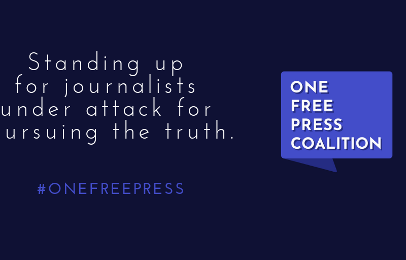 """Purple image saying """"standing up for journalists under attack for pursuing the truth"""" #OneFreePress"""